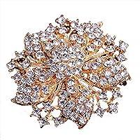 Crystal Flower Brooch Pin Fashion Crystal Bauhinia Pin for Women in Bouquet Wedding
