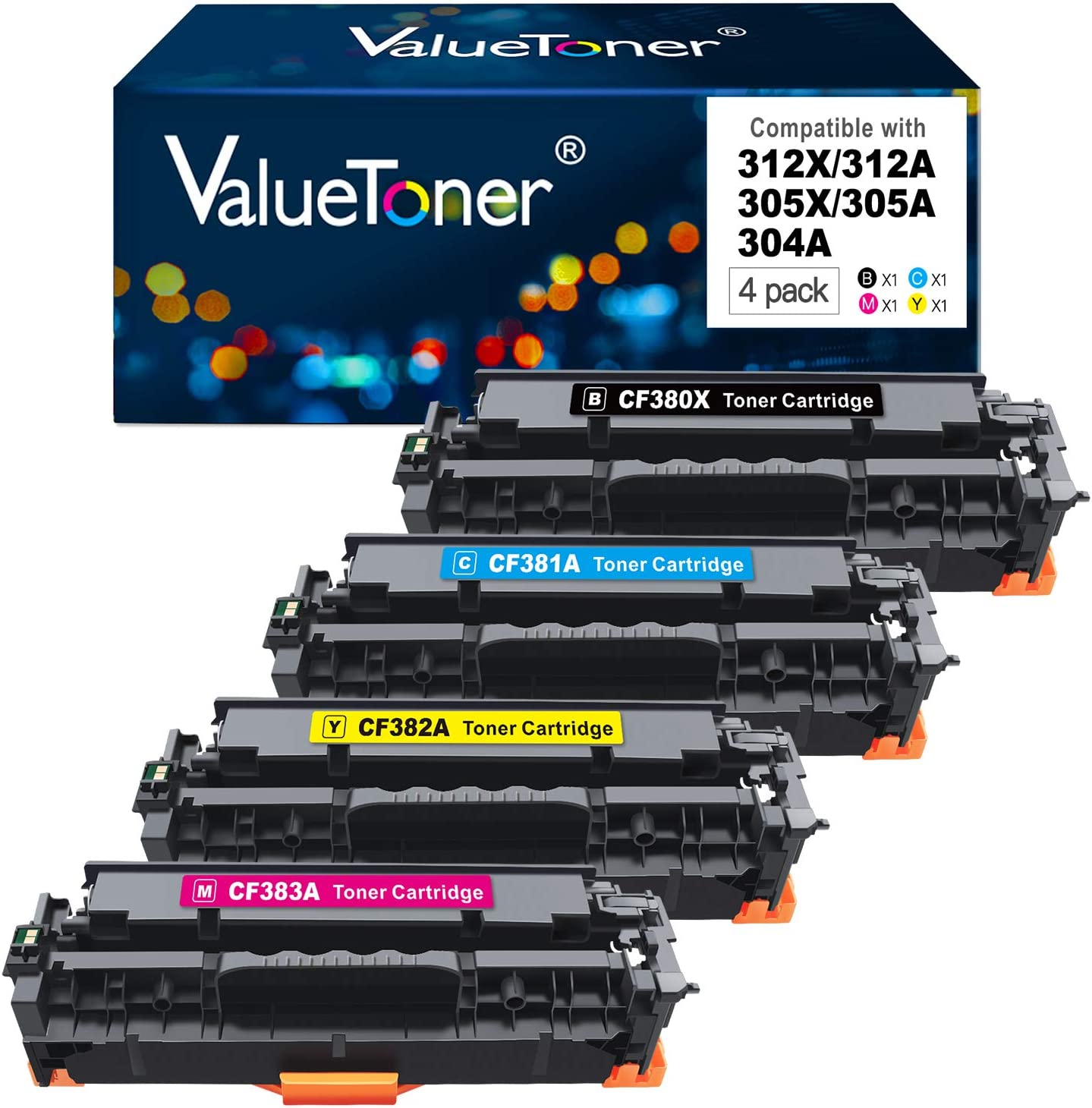 Valuetoner Remanufactured Toner Cartridge Replacement for HP 312X 312A 305A 305X for Laserjet Pro 400 Color M451dn M451dw M451nw M475dn M475dw MFP M476nw M476dn M476dw (Black,Cyan,Magenta,Yellow)