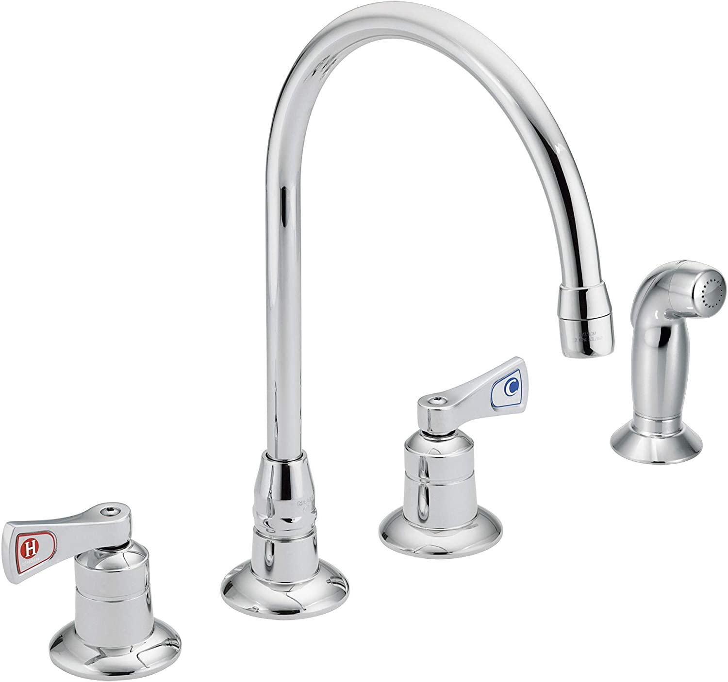 Moen 8242 Commercial M Dura Kitchen Faucet With Side Spray With 2 5 Inch Handles 2 2 Gpm Chrome Touch On Kitchen Sink Faucets Amazon Com