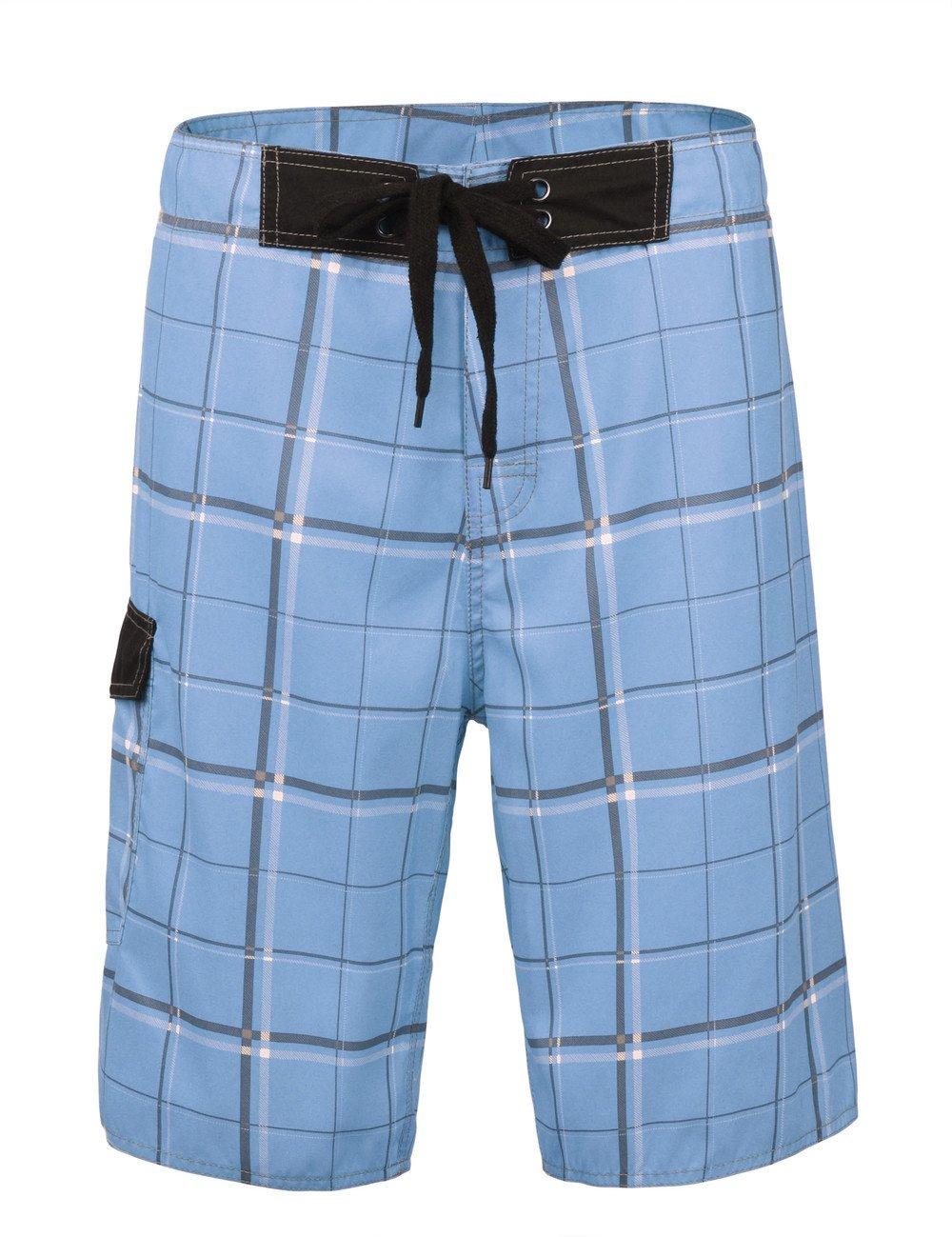 Nonwe Men's Beachwear Swim Trunks Quick Dry Plaid Pattern with Lining JF16139