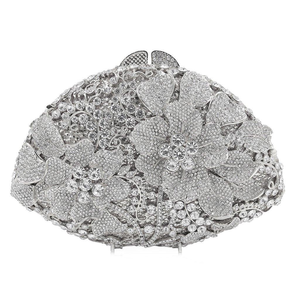 Flada Women's Luxurious Rhinestones Flabellate Evening Clutch Hollow Flower Wedding Handbag Silver