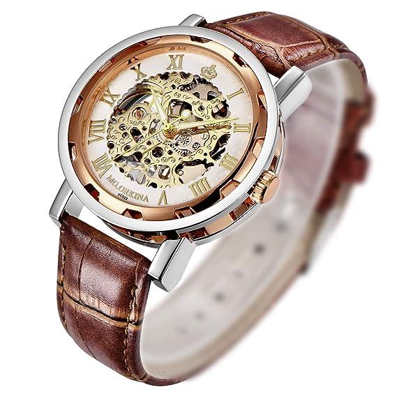 Reloj mecánico de pulsera Steampunk para hombres, de GuTe con correa de cuero, color marrón, esfera rosa dorada y blanca. Números romanos: Amazon.es: ...