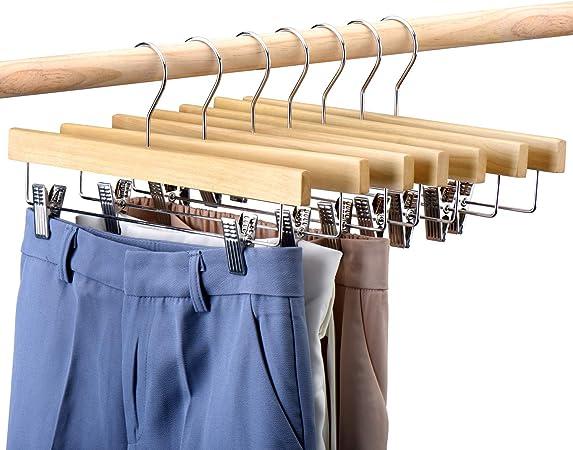 25pcs Wooden Pant Skirt Hangers FBA/_HD14WN HOUSE DAY Natural Wood Hangers 14 Wood Bottom Hangers with Clips