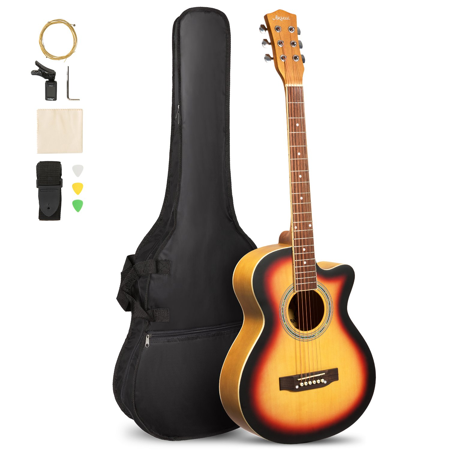 ARTALL 39 Inch Handcrafted Acoustic Cutaway Guitar Beginner Kit with Gig bag & Accessories, Matte Sunset