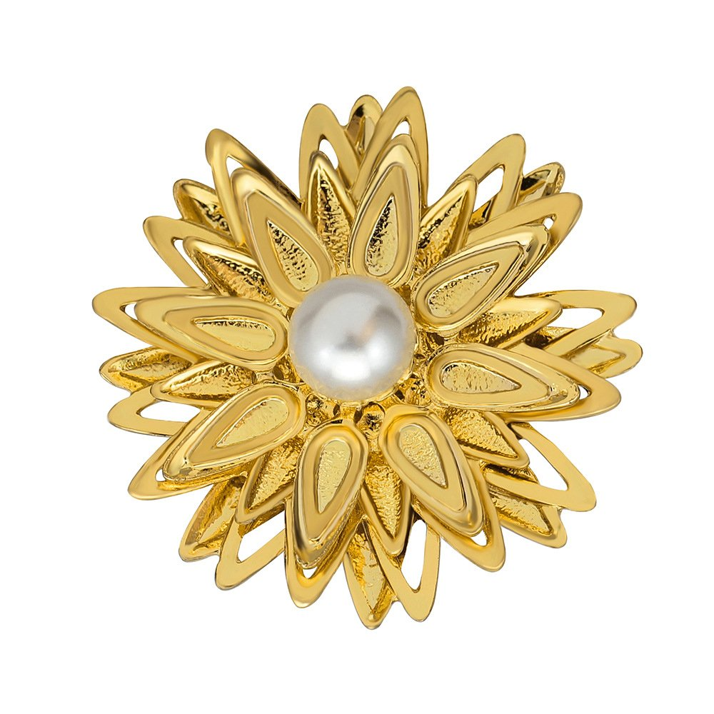 Ladies Fashion Sparkly Golden Plated Created Pearl Sunflower Brooch for Women Girls