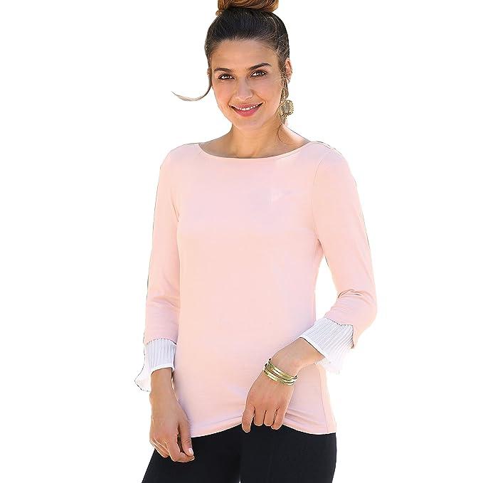 8a9a0c9b0 VENCA Camiseta puño Plisado a Contraste Efecto Doble Mujer by Vencastyle -  014323
