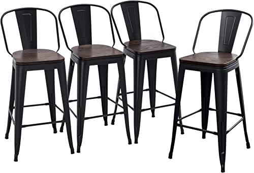 Yongqiang Metal Bar Stools Set of 4 Kitchen Stools Dining Bar Chairs High Back Barstool