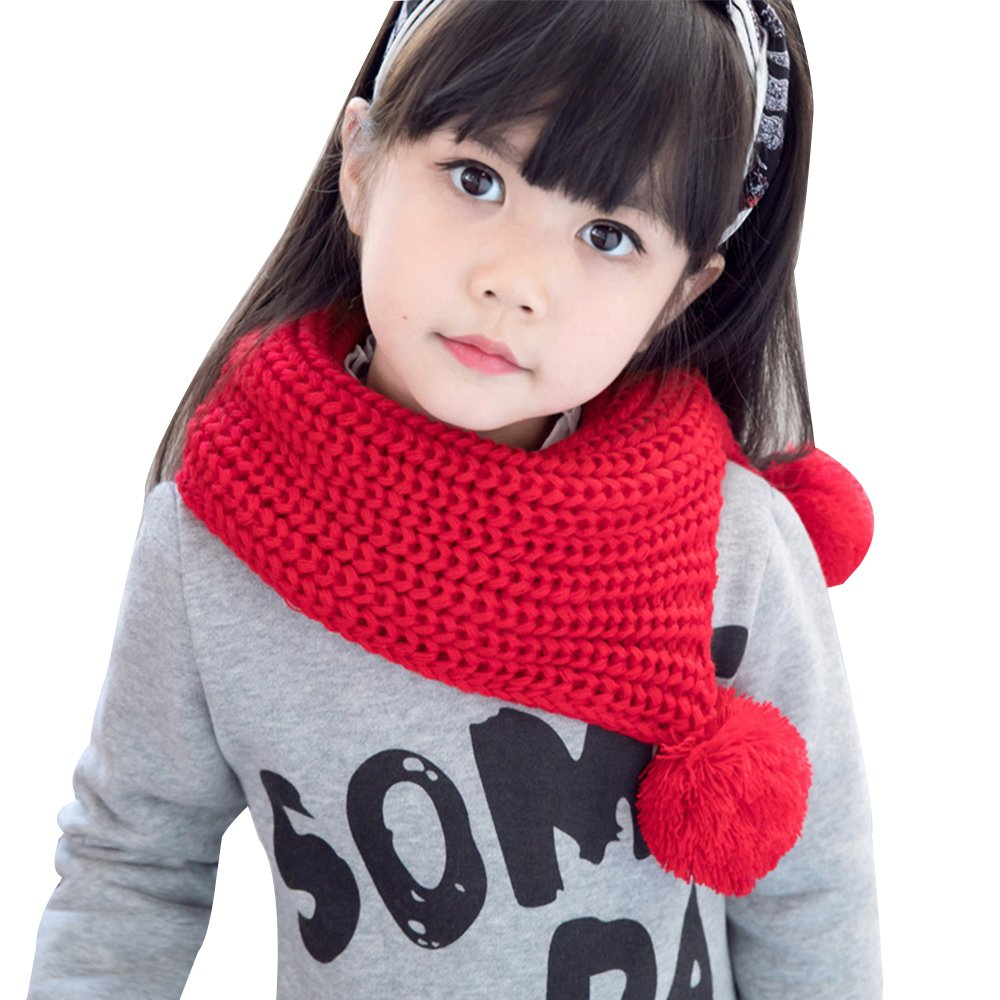 Kids Winter Warm Knit Scarves Wraps Fashion Solid Color Scarf Girls with Poms