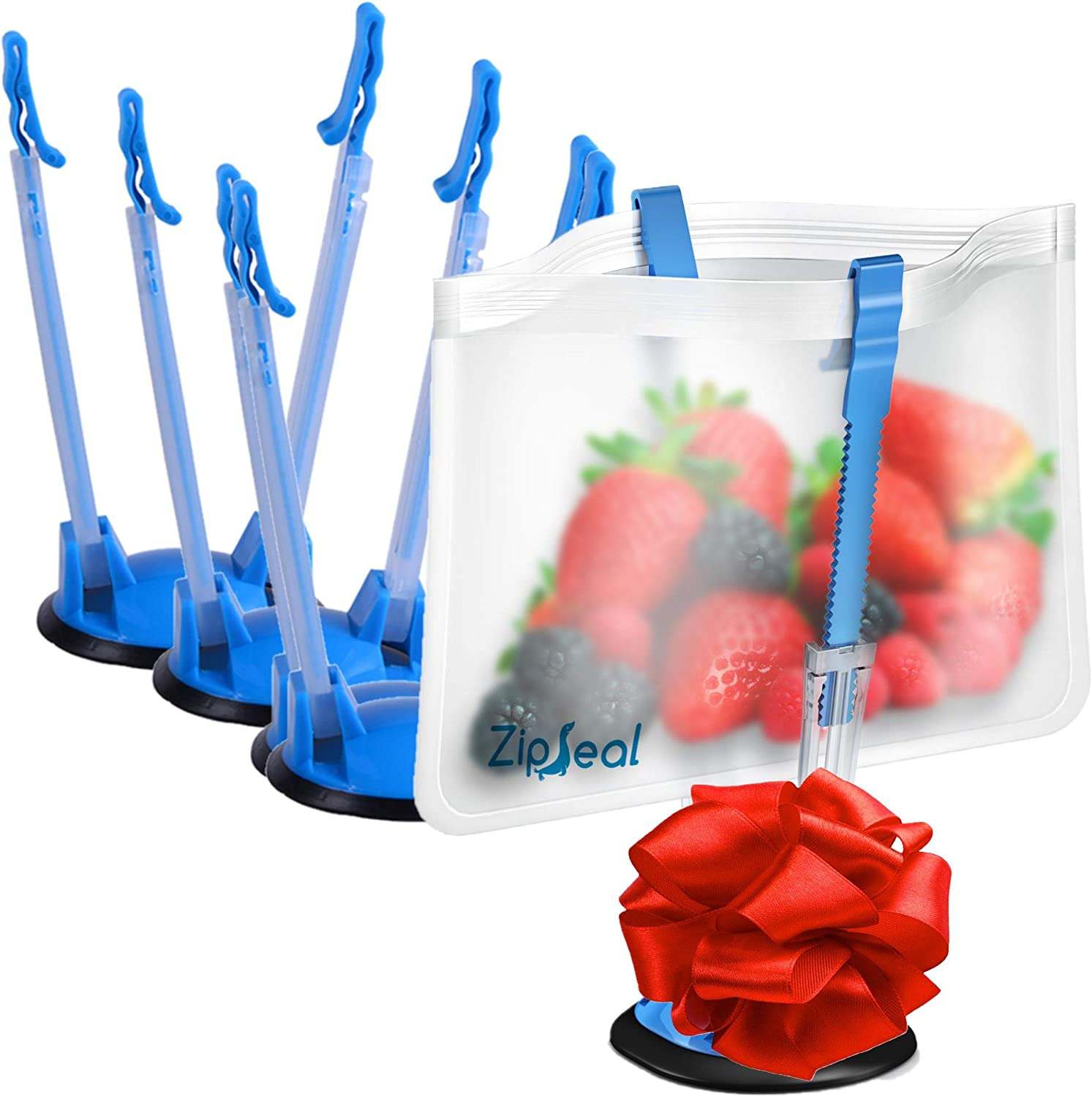 Baggy Rack Holders for Hands Free Freezer Meals Prep - Zip Lock Bag Stands for Baggy - 4 Pack - Baggie Holder Stand - Use Sandwich to Gallon Size Bags
