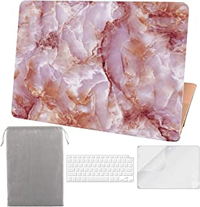 Sykiila for 2020 2019 MacBook Air 13 Inch Case New Model A2179 A1932 with Touch ID & Retina Display 4 in 1 Hard Shell Case & Sleeve & HD Screen Protector & Keyboard Cover - Pink Marble