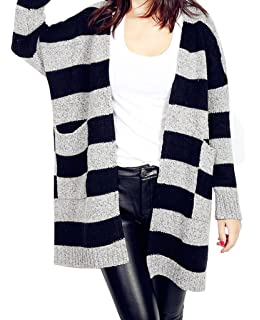 4e9c905335e38 Bigood Femme Cardigan Manteau Pull Longue Manches Longue Tricot Tops Rayures