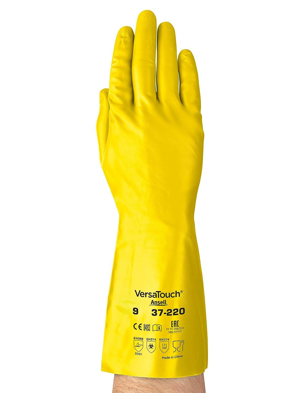 Chemikalien- und Fl/üssigkeitsschutz 12 Paar pro Beutel Gr/ö/ße 7 Rot Ansell Sol-Vex 37-900 Nitril Handschuhe