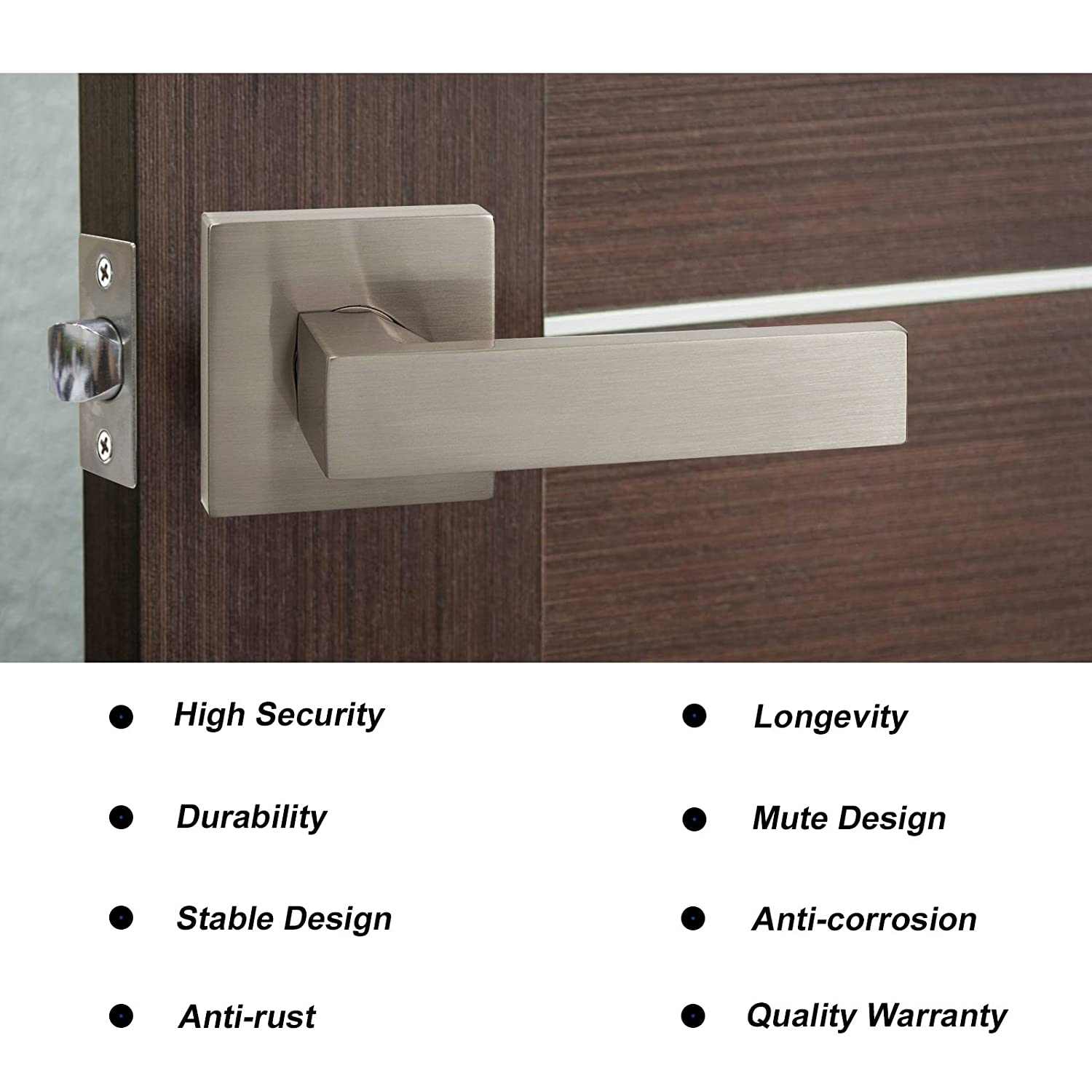 Front Door Locks with Keys 2 Pack Heavy Duty Exterior Door Locking with Square Rosette for Commercial//Residencial Use Straight Drop Style Door Handles Satin Nickel Finish
