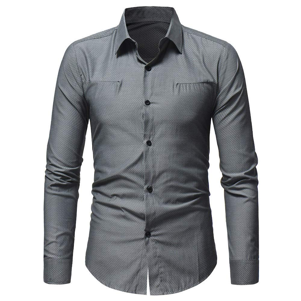 Mens Casual Button-Down Shirts Oxford Long Sleeve Basic Work Shirt