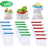 ANNA TOSANI 16 Piezas Bolsas Reutilizables Compra, Ecológicas Bolsa de Malla para Almacenamiento Fruta Verduras Juguetes…