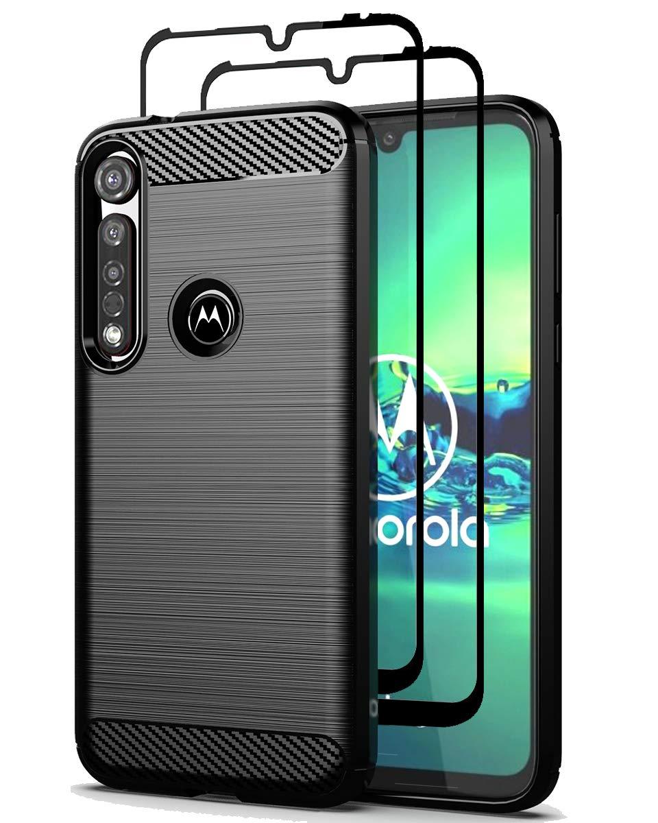 Funda + 2 Vidrios Templados Motorola G8 Plus, Negra