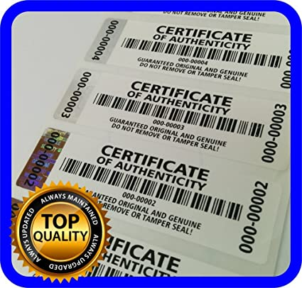 250 Pcs Certificate Of Authenticity Labels Security Stickers With Hologram Stripe 2 75 X 0 78 Inch