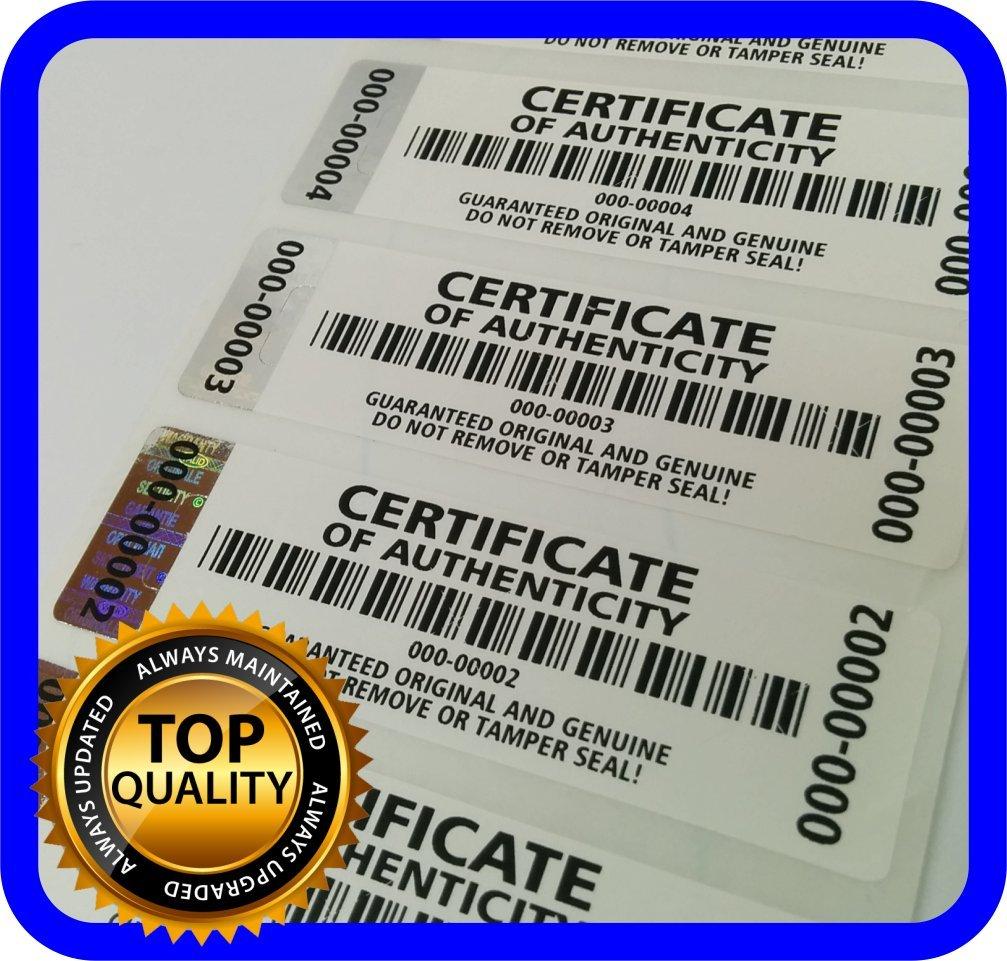 250 Etiquetas Seguridad Numeradas Auntenticidad (7x2cm)