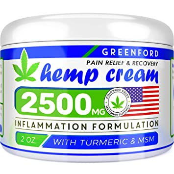 Pain Relief Hemp Cream 2500 Mg - Hemp Extract Cream for Inflammation & Sore  Muscles - Natural Joint,