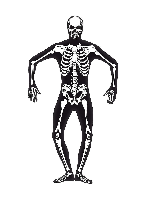 Smiffy'S 24618S Disfraz De Esqueleto Segunda Piel Con Cremallera Escondida Y Apertura Bajo, Negro, S - Tamaño 34