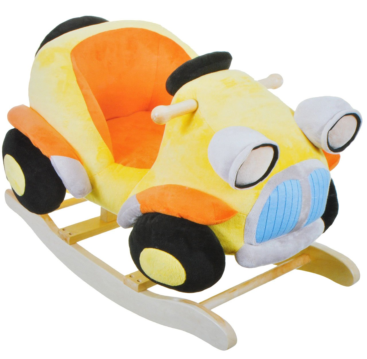 XL Plüsch und Holz Schaukelpferd - Auto Fahrzeug - Schaukeltier Kind Schaukel Schaukelauto Tier Tiere Plüschschaukel für Kinder Jungen Autos