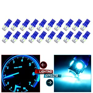 cciyu 194 Extremely Bright LED Bulbs 5-5050-SMD Dashboard Gauge Light Speedometer Odometer Tachometer LED light fit for 2013 2014 2015 Infiniti JX35 Wedge T10 168 2825 W5W Ice Blue Pack of 20