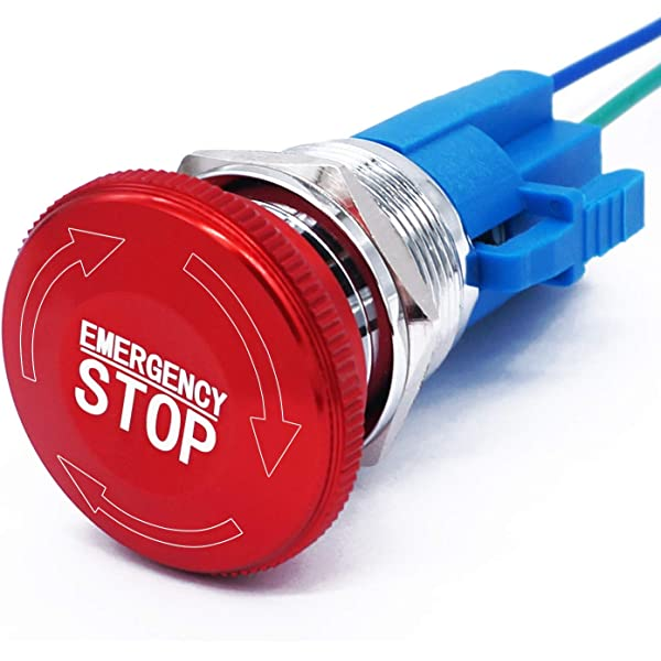 E STOP Emergency Red Round Push Pull Pushbutton 22mm 2NC Contact Block 250VAC 6A