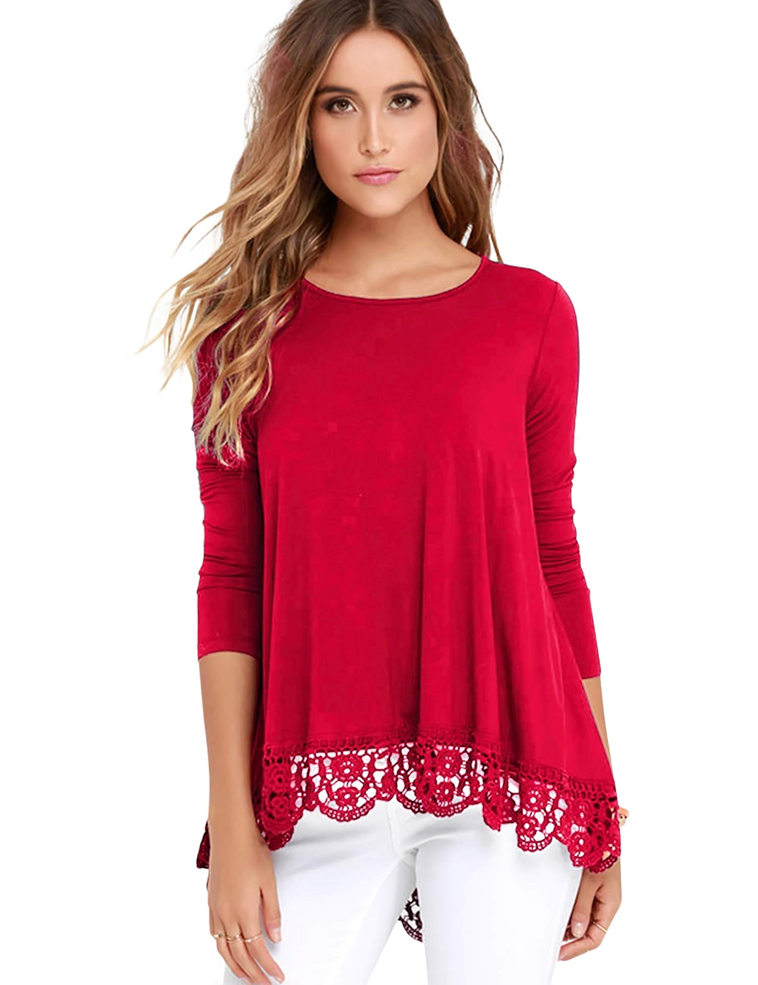 FISOUL Tops Long Sleeve Lace Trim O-Neck A-Line Tunic Tops Red XL
