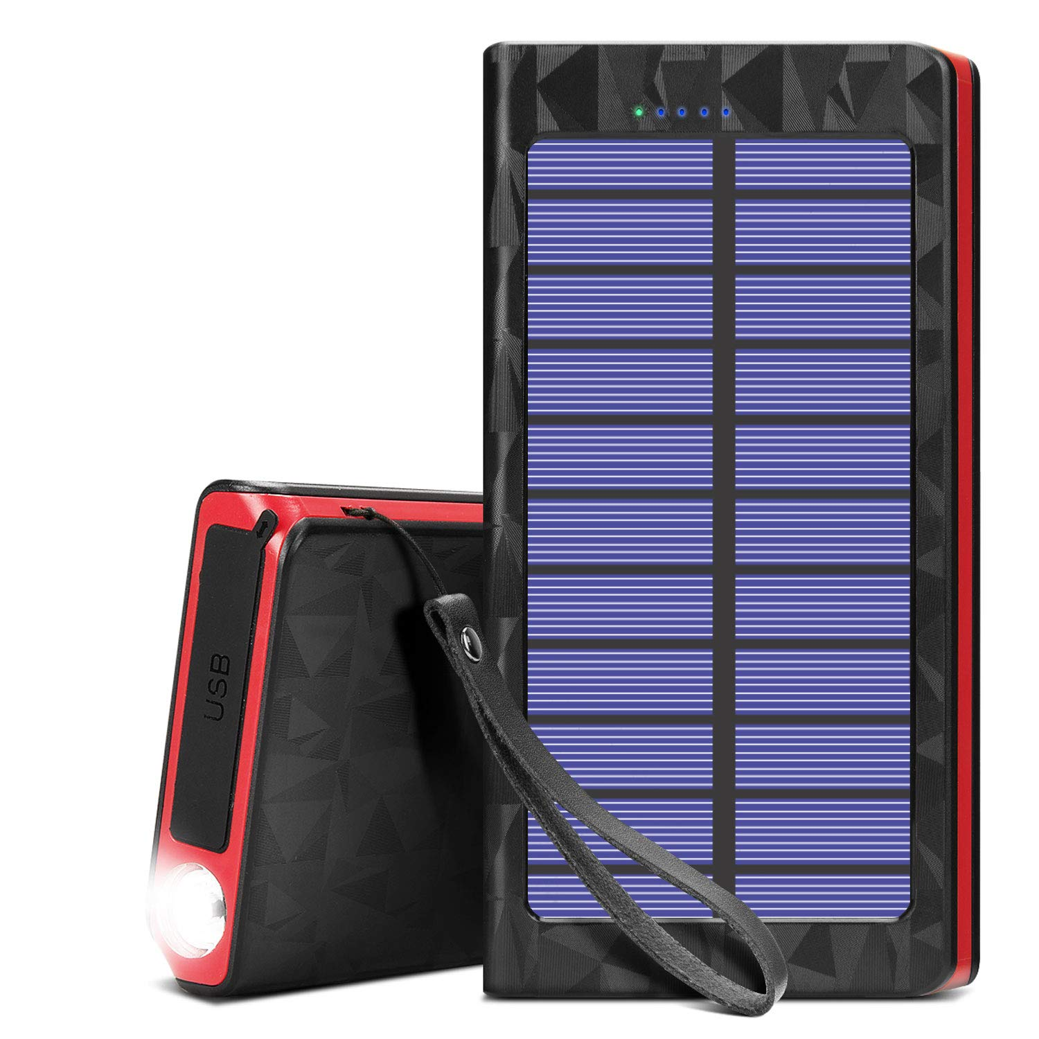 LICORNE Portable Solar Cell Phone Chargers Power Bank 20000mAh Battery with LED and Fast Charge USB Output Ports, External Batteries Pack Solar Panel Charger for Camping Outdoor Activities by LICORNE