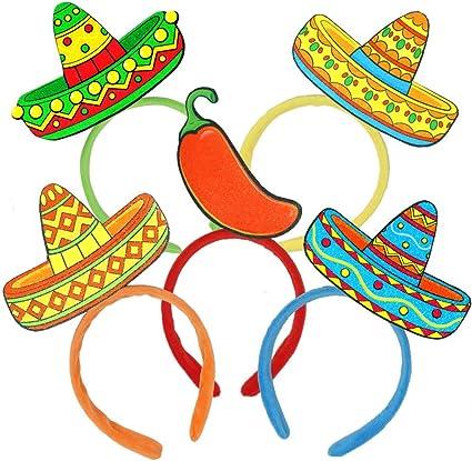 3Pcs Cinco De Mayo Sombrero Headband Fiesta Fabric and Straw Sombrero Party Hats for Carnivals Festivals Dia De Muertos Wedding Birthdays and Party supplies Coco Theme