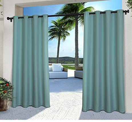 2 Pieces 108 Inch Teal Color Gazebo Curtains Set Pair, Dark Blue Solid  Color Pattern