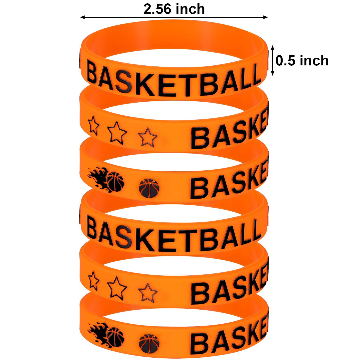 24 Pieces Norme 24 Pieces Basketball Silicone Bracelets Boy Rubber Wristbands Basketball Bracelet Party Favors for School Gifts Supplies