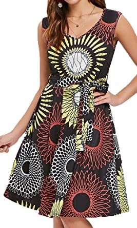 85dcafa9a5f0 Bodycon4U Women's Vintage Sunflower Print Party Sleeveless Swing Fit and Flare  Dress Knee Length Red
