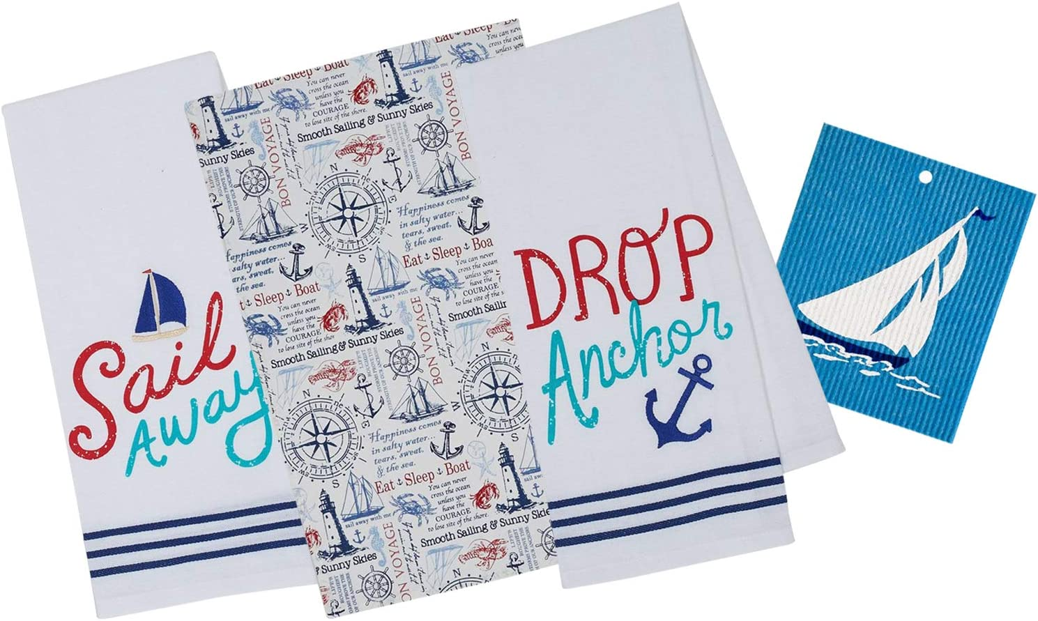 3 Nautical Themed Cotton Kitchen Towels | Anchor, Lighthouse, Sailboat, Wheel, Compass, Sea Life | 2 Embellished, 1 Printed Dishtowel Set for Dishes and Hand Drying | Includes Swedish Dish Cloth