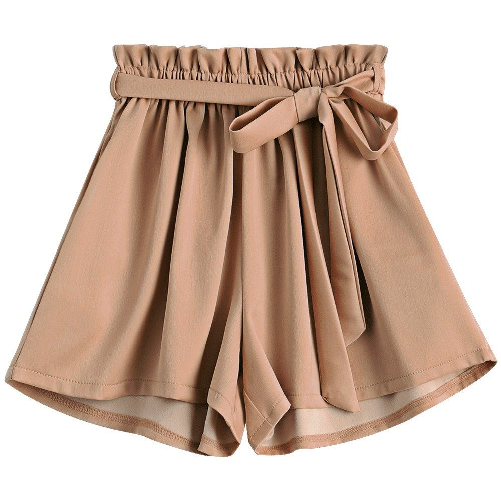 Amordaily Womens Pleated Summer Fall Beach Shorts Outdoor Shorts Casual Belted Loose High Waisted Bottom with Pockets Khaki