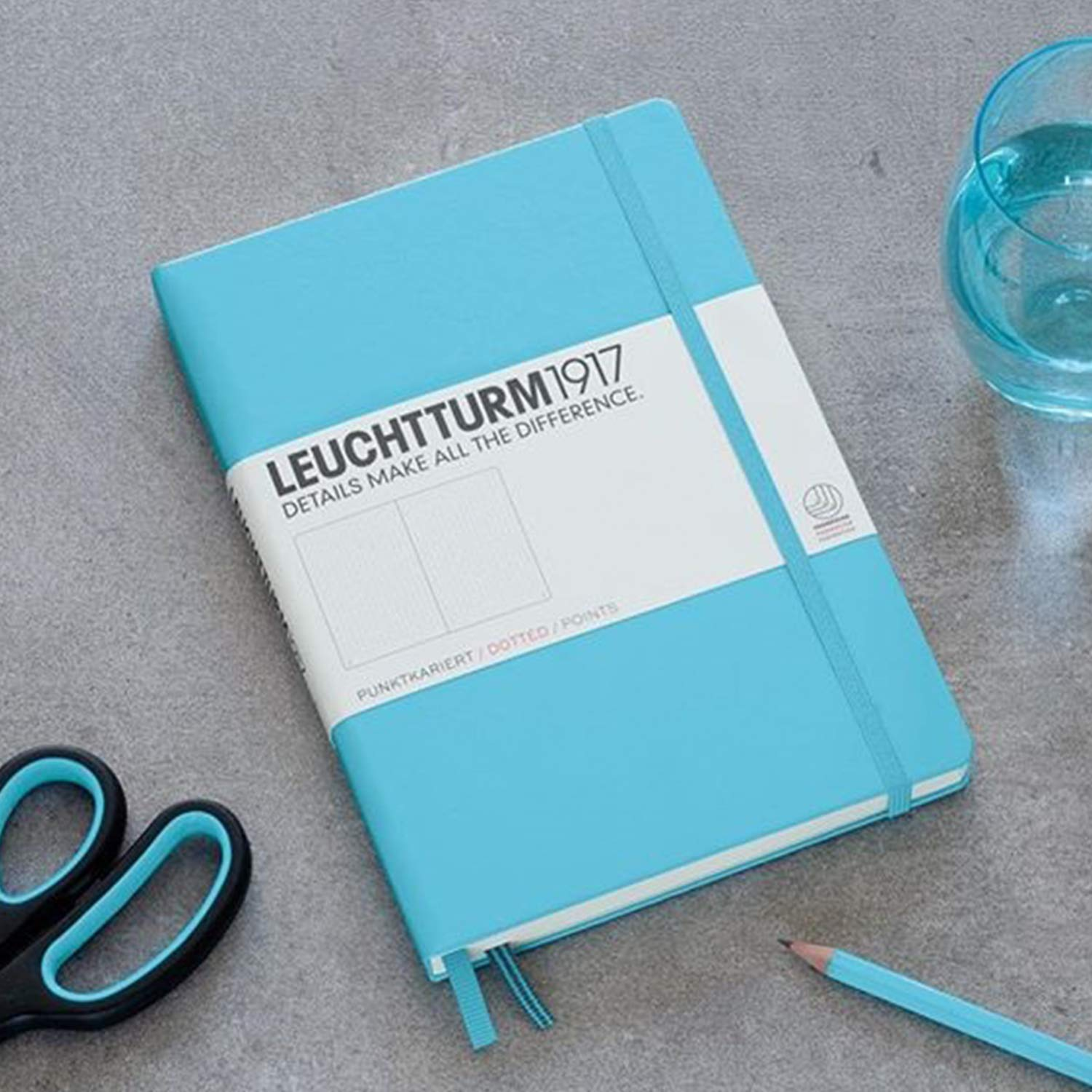 Leuchtturm1917 Medium A5 Dotted Hardcover Notebook (Ice Blue) - 249 Numbered Pages