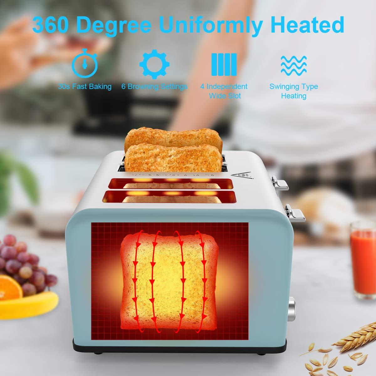 Toaster 4 Scheiben, Morpilot Edelstahl Toaster 1600 Watt mit 1,5\'\' breiten Schlitzen, 6 bräunungsstufen und 3 Moden (Auftau-, Aufwärm- sowie Abschaltungsmode)