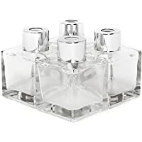 Pack of 4 Glass Diffuser Bottles | Essential Oil Fragrance Reed Holders | Square 50ml Classic Design | Premium Quality | M&W