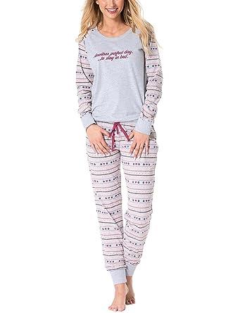 04dd715a31 Rossli SAL-PY 1071 Women s Pyjama Set Long Sleeved Patterned Casual ...