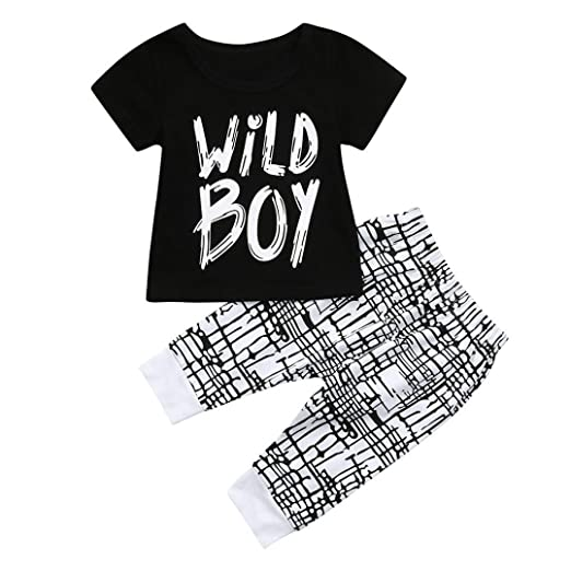 fd270836 Amazon.com: Moonker 2Pcs Toddler Infant Baby Boy Letter Print Wild ...