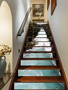 """FLFK 3D Waterfall Stair Stickers Self-Adhesive Stair Riser Mural Wallpaper Decal for Home 39.3"""" w x 7"""" h x 13pieces"""