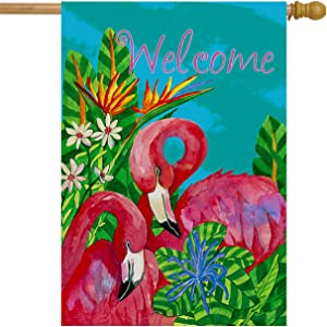 "Briarwood Lane Tropical Flamingos Summer House Flag Welcome Nautical 28"" x 40"""