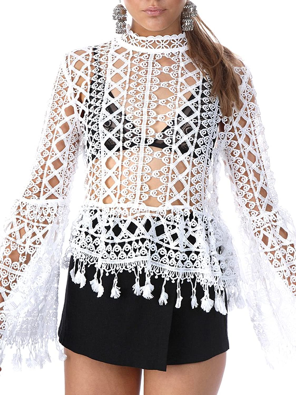 Simplee Apparel Women's Transparent High Neck Hollow out Crochet Blouse Top Jumper