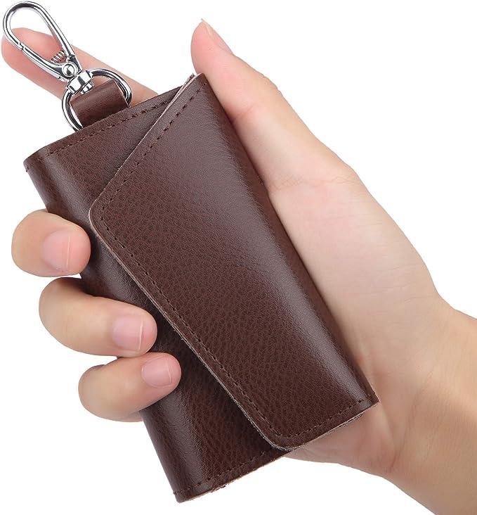 Leather Keychain Unisex Car Wallet Split Keychain Key Case Key Case Mini Bag Black