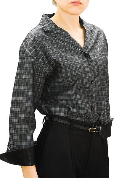 chaika Camisa Mujer Cuadros Manga Larga Blusa para Gemelos Suelta Negra Gris M: Amazon.es: Ropa y accesorios