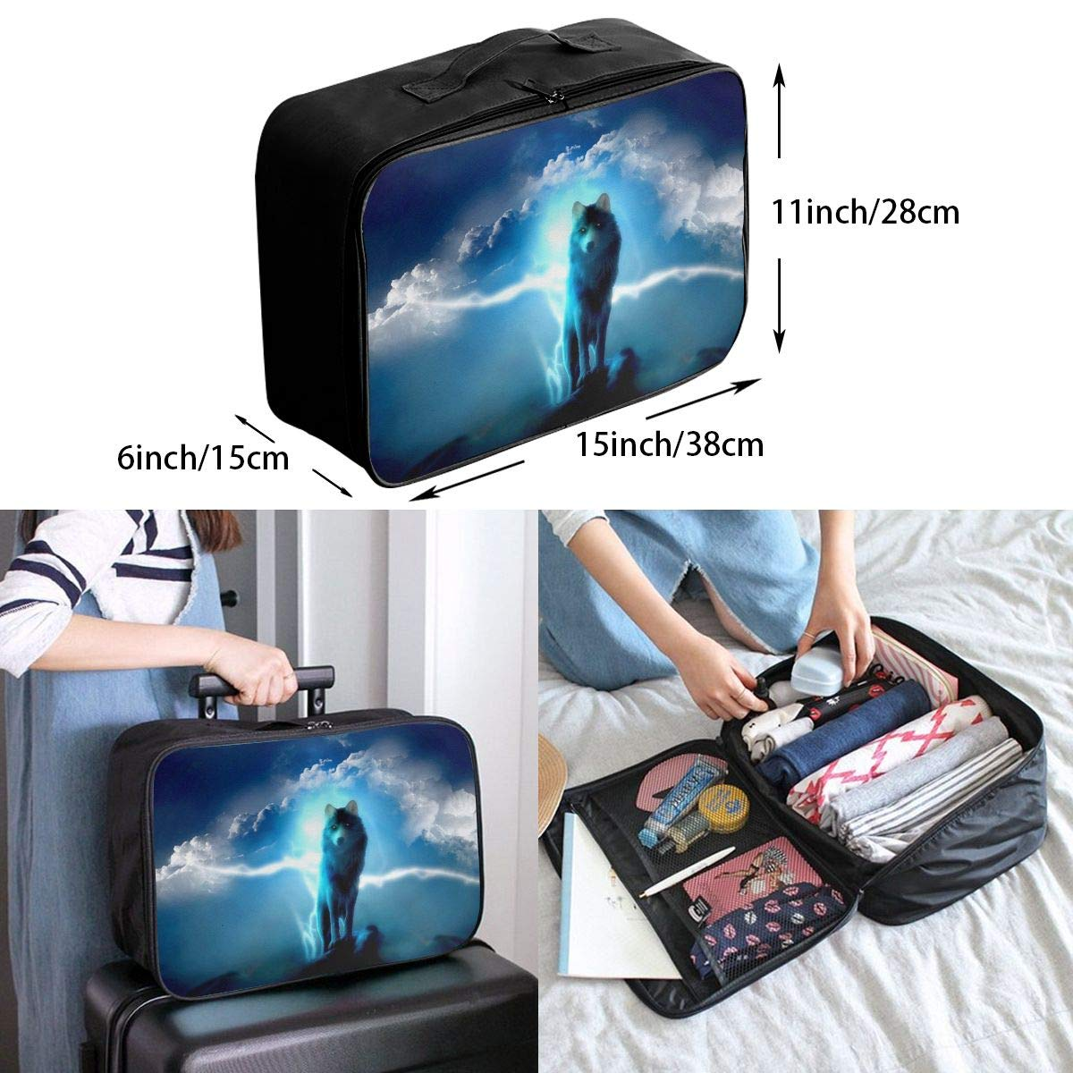 ADGAI Wolf Series 19 Canvas Travel Weekender Bag,Fashion Custom Lightweight Large Capacity Portable Luggage Bag,Suitcase Trolley Bag