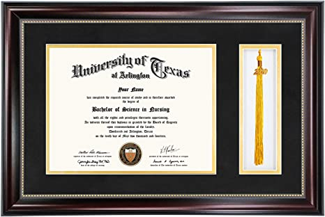 Graduationmall 11x17 Mahogany Diploma Frame With Tassel Holder For 8 5x11 Certificate Document Real Glass Black Over Gold Mat