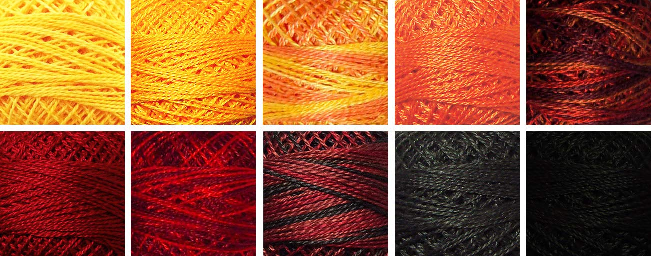 Valdani Perle Cotton Size 8 Embroidery Thread ''Firepit'' Sampler Set - 10 Colors, 73 Yards Each by Valdani