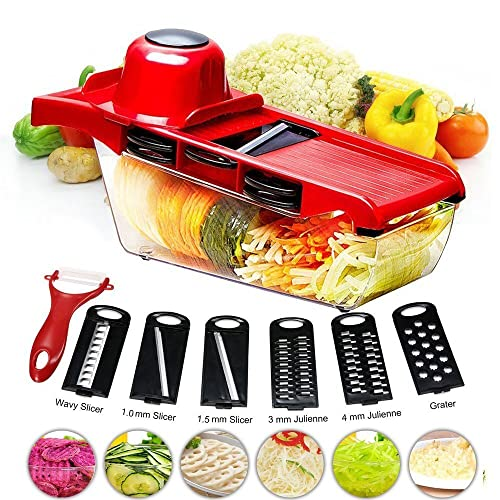 BYETOO Mandoline Slicer Vegetable Cutter Grater Chopper Julienne Slicer - 6 Interchangeable Blades with Peeler,Hand Protector,Food Storage Container - Cutter for Potato,Tomato,Onion,Cheese,Cucumber et