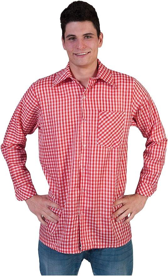 Oktoberfest Tiroler Camisa Rojo/Blanco a Cuadros Señor Disfraz Hombres Traje típico de camisa hombre para Carnaval Fiesta pierro s Disfraz: Amazon.es: Juguetes y juegos